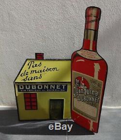 RARE Présentoir tole litho QUINQUINA DUBONNET n plaque émaillée absinthe bistrot