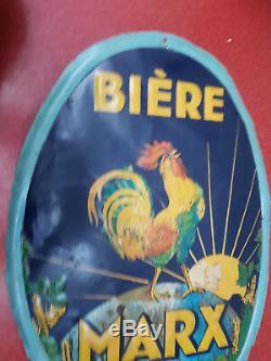 RARE TOLE BIERE MARX 1900 Marseille COQ