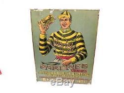 RARE TOLE LITHOGRAPHIEE ANCIENNE PUBLICITAIRE Sardines Derby 1920