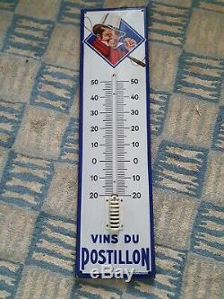 RARE! Thermomètre vintage Vins du Postillon, plaque émaillée ancienne