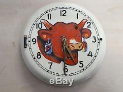 RARE ancienne pendule horloge émaillée LA VACHE QUI RIT no menier kub plaque
