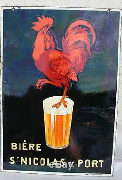RARE ancienne plaque émaillee biere saint nicolas de port double face