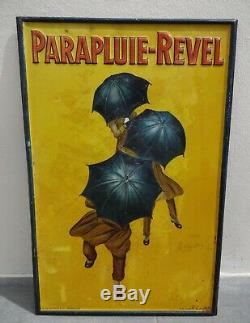 RARE ancienne tole litho PARAPLUIE REVEL Cappiello 1922 no plaque émaillée kub