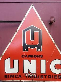 RARE enseigne complète camions UNIC SIMCA double face tôle plaque NON émaillée