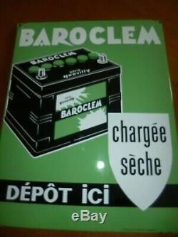 RARE plaque émaillée BAROCLEM Batterie garage auto par EAS 48 cm x 37,5 cm