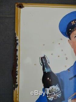 RARE plaque émaillée Bière MOTTE-CORDONNIER no coq hardi adelshoffen maxeville