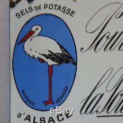RARE plaque émaillée SELS DE POTASSE D'ALSACE tole émail pomme de terre pub