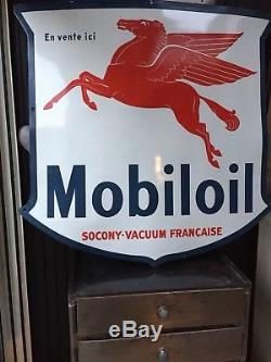 RARE plaque emaillee ancienne mobiloil