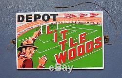 RARE plaque émaillée belge DEPOT LITTLEWOODS 1952 pronostic football soccer