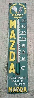RARE thermometre publicitaire plaque émaillée lampes MAZDA auto vintage
