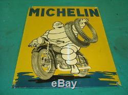 RARISSIME TOLE ALU MICHELIN MILANO pompe bidon oil can gas pump tanksaule tin