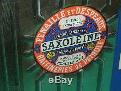 RARISSIME TOLE GAUFFREE SAXOLEINE bidon huile oil can pompe pump tanksaule