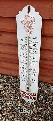 REVILLON Thermomètre Tete de coq PLAQUE EMAILLEE ANCIENNE. STRASBOURG