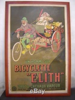 Rare Affiche Bicyclette ELITH signée MICH Déco Garage Automobile vélo Cycle