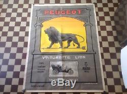 Rare Ancienne Affiche Voiturette Lion Peugeot Signée Thor Pur Jus No Copy