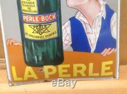 Rare Ancienne Plaque Émaillée Biere La Perle Pur Jus Aucune Resto