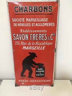 Rare Ancienne Plaque Émaillée Bombé Charbon Établissement Savon Frères Marseille