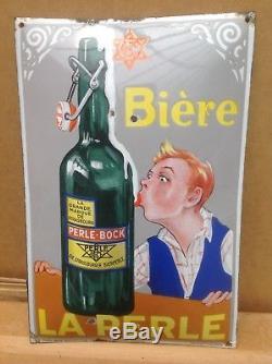 Rare Ancienne Plaque Emaillée Bombée Biere La Perle Pur Jus 1930