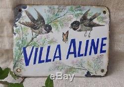 Rare Ancienne Plaque Emaillee De Villa Villa Aline Oiseaux Et Papillon 19eme