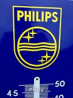 Rare Ancienne Plaque Émaillée Thermomètre Philips Etat Mint Pur Jus