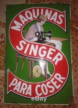 Rare Ancienne Plaque émaillée Singer -1935