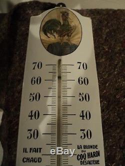 Rare Ancienne Plaque émaillée Thermomètre BIERE DU COQ HARDI Lille
