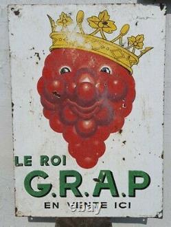 Rare Ancienne Plaque émaillée Vin Grap BEUVILLE publicitaire