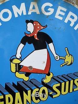 Rare Ancienne Plaque émaillée Fromagerie Franco Suisse émaillerie Belge Bruxelle