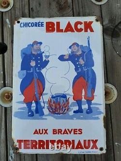 Rare Ancienne plaque émaillée Chicorée Black publicitaire email koekelberg
