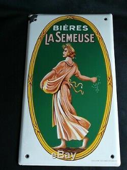 Rare Ancienne plaque émaillée bière la semeuse emaillerie alsacienne Strasbourg