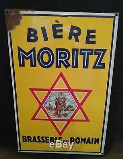 Rare Ancienne plaque emaillee biere moritz pfaffenhoffen alsace romain