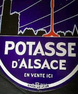 Rare Ancienne plaque emaillee potasse d'alsace email ED jean hansi