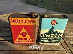 Rare Bidon Dhuile Ancien Shell, Antigel Whiz Plaque Émaillée Oil Can Öldose