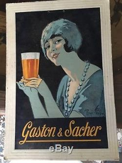 Rare Biere Gaston & Sacher Brasserie De Castres Signe Rene Pean 1930