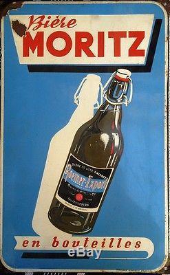 Rare Et Ancienne Plaque Emaillee Biere Moritz Roemer Pfafenhoffen
