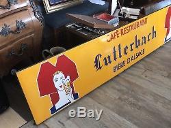 Rare Et Ancienne Plaque Émaillée Lutterbach Bière DAlsace Longueur 246 Cm