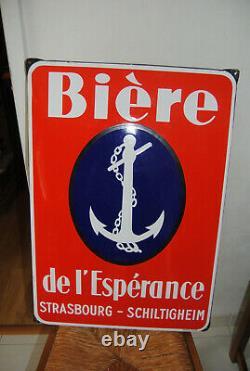Rare Grande Plaque Emaillee Biere De L Esperance Strasbourg-schiltigheim Eas