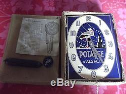 Rare Horloge Montre plaque émaillée potasse d'Alsace Hansi 1960