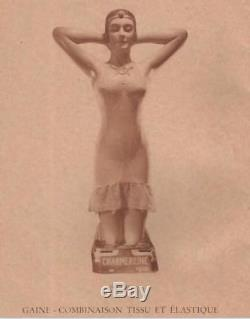 Rare Nubienne Mannequin En Platre Publicitaire Charmeraine Corset 1925