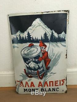 Rare PLAQUE EMAILLEE Mont Blanc1922