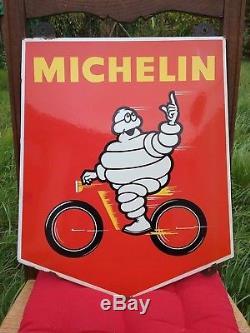 Rare Petite Plaque Emaillee Bibendum Velo Rouge Originale An 50 60 Michelin