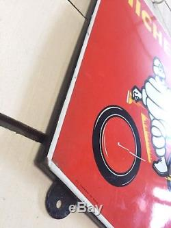 Rare Petite Plaque Emaillee Bibendum Velo Rouge Originale An 60