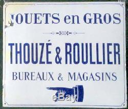 Rare Plaque Emaille Ancienne Jouets Thouze Et Roullier Emaillerie Dewez