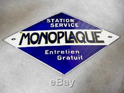 Rare Plaque Émaillée Accus Monoplaque 1920 Batterie Garage Station Huile