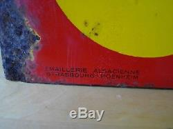Rare Plaque Emaillee Huiles Shell 1930 Double Face