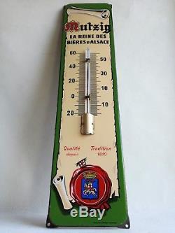 Rare Plaque Émaillée Thermomètre Bière Mutzig Émaillerie Alsacienne Strasbourg