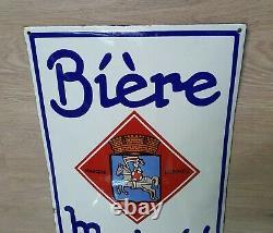 Rare Plaque Émaillée bombée Biere MUTZIG TBE Signée EAS Superbe 40 x 60 cm