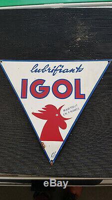 Rare Plaque En Tole Peinte Huile Igol No Émaillée Vintage Automobilia Garage