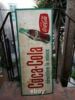 Rare Plaque Tôle Peinte No Emaillée Coca Cola Deco Bar Boisson France