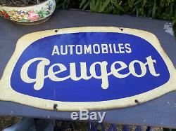 Rare. Plaque emaillee PEUGEOT Ancienne double face